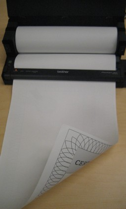 Thermal Roll in PocketJet Printer with roll holder